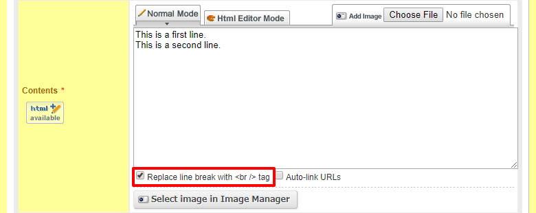 What Is The Replace Line Break With Br Tag Checkbox